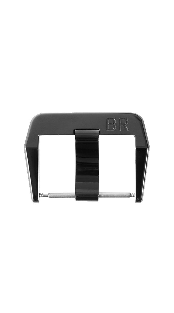 BR 01 - BR 02 - BR 03 steel pin buckle with polished black PVD finish