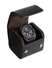 Black leather case for one watch