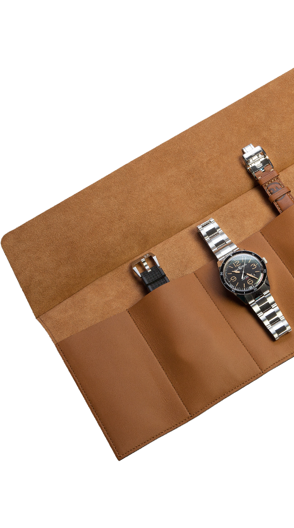 Camel calfskin watch roll for six watches