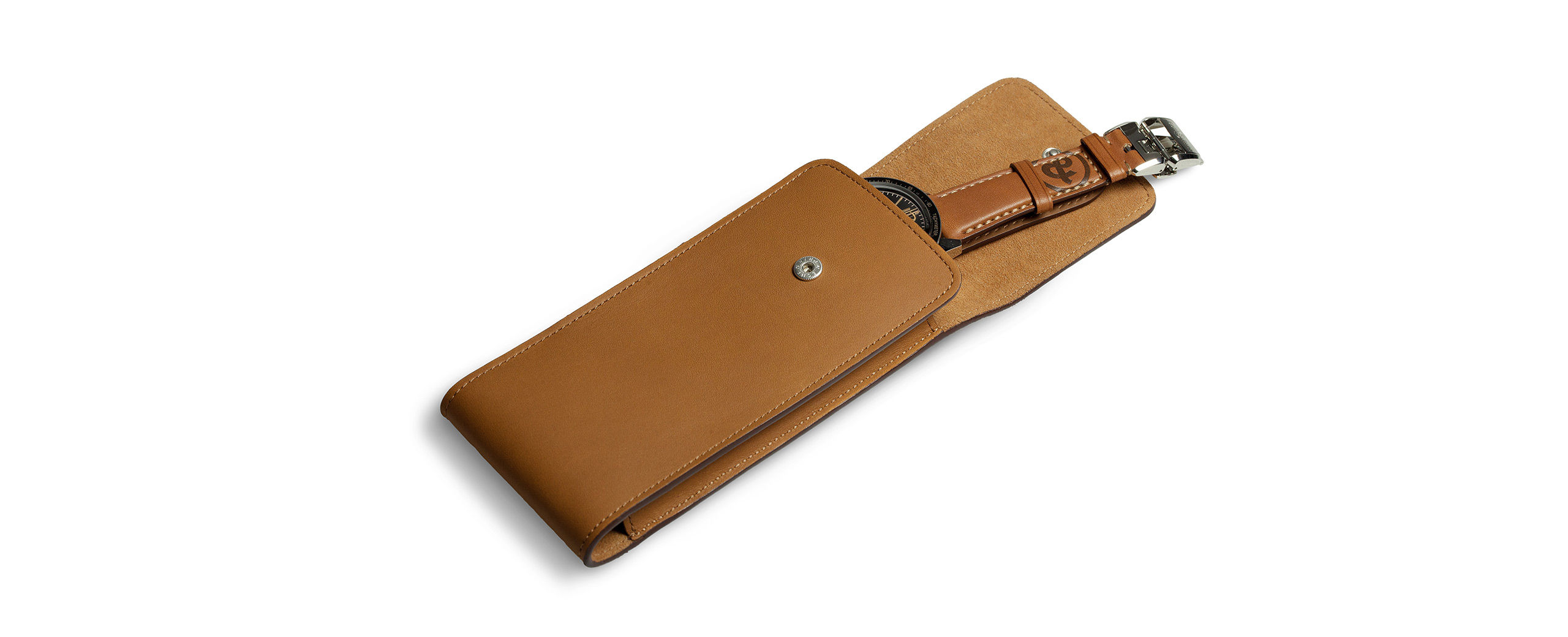 Camel leather pouch for one watch