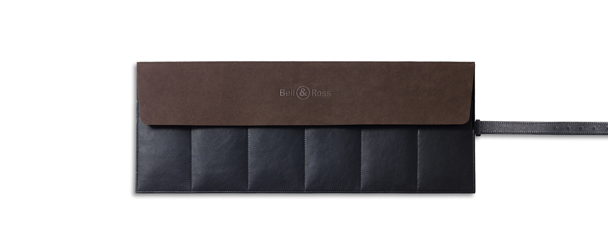 Black calfskin watch roll for six watches