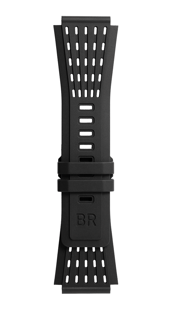 BR-X1 - BR 01 - BR 03 black perforated rubber strap