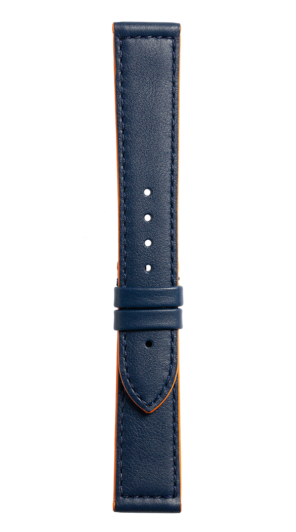 Vintage BR V1 blue calfskin with orange lining strap