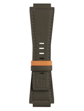 BR-X1 - BR 01 - BR 03 reversible khaki/orange calfskin leather strap