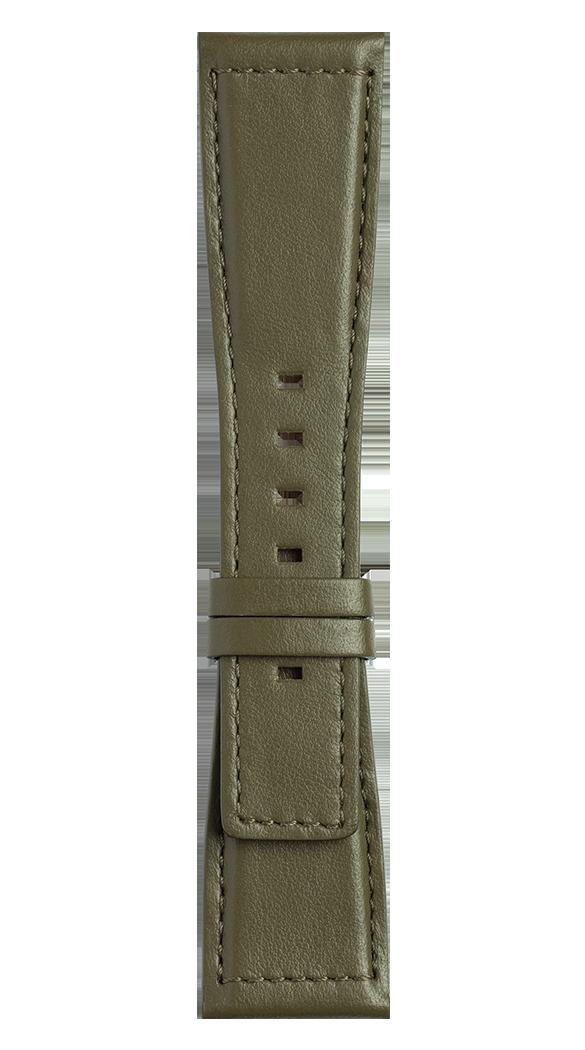 Bracelet en cuir de veau de couleur kaki BR S