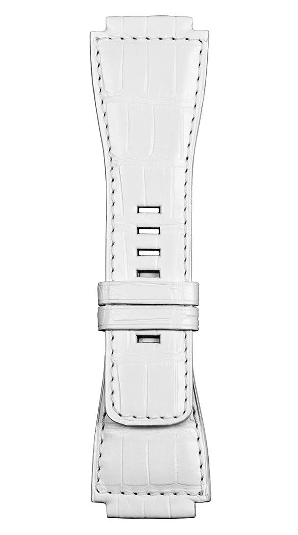 Correa de piel de aligátor blanca para relojes BR-X1 - BR 01 - BR 03