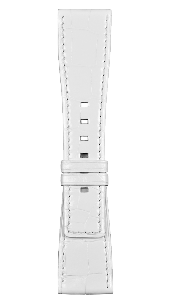 BR S white alligator strap