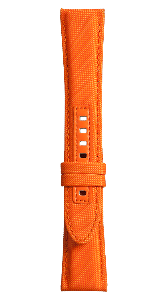 Vintage BR orange synthetic fabric strap with black buckle entry