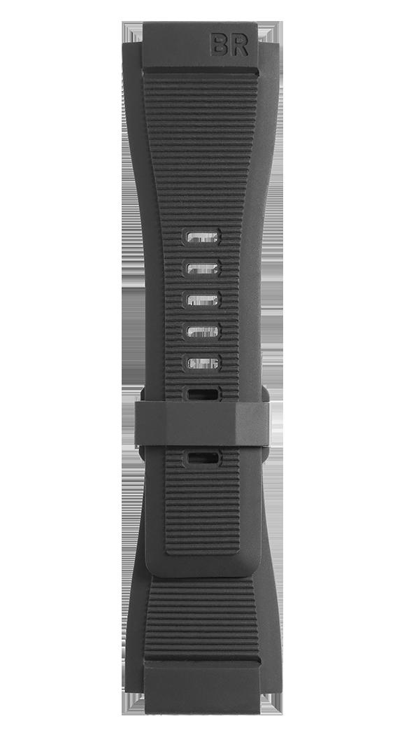BR-X1 - BR 01 - BR 03 black grooved rubber strap