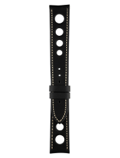 Vintage perforated black calfskin strap
