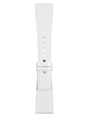 BR S white lacquered calfskin strap
