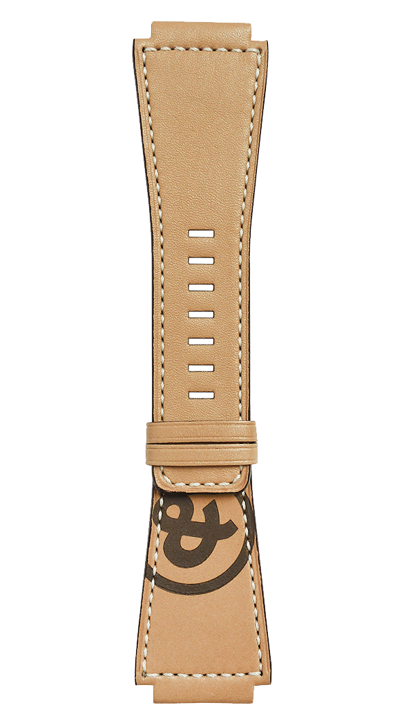 Heritage BR-X1 - BR 01 - BR 03 natural calfskin strap with ampersand stamp