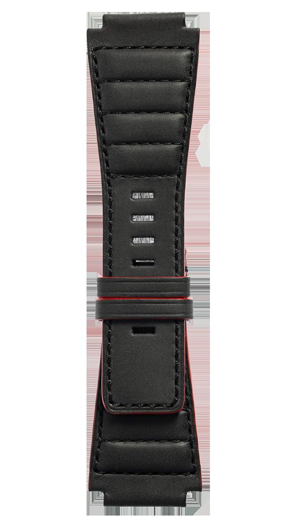B-Rocket BR-X1 - BR 01 - BR 03绗缝黑色小牛皮表带。