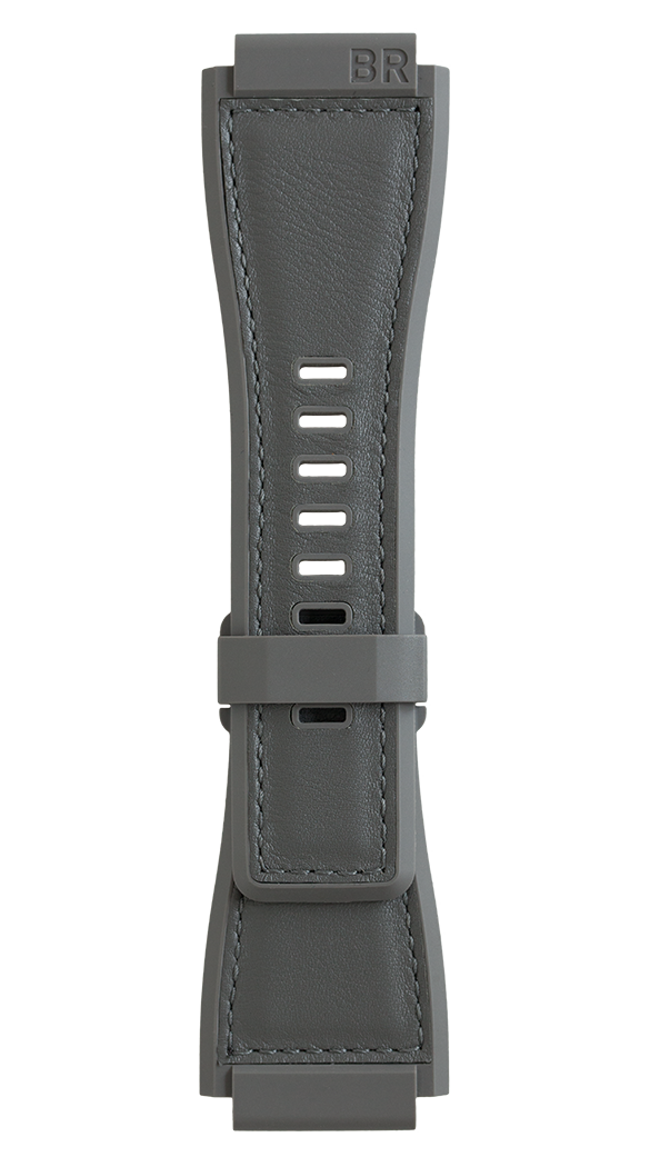BR-X1 - BR 01 - BR 03 Bi-material rubber and calskin grey strap