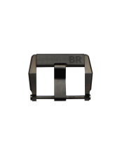 Steel pin buckle with satin-finished black PVD finish and rubber insert
