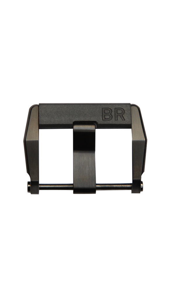 Steel pin buckle with polished black PVD finish and rubber insert
