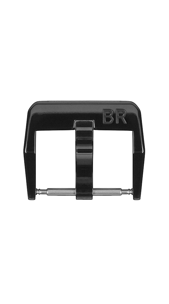 BR S steel pin buckle with polished black PVD finish